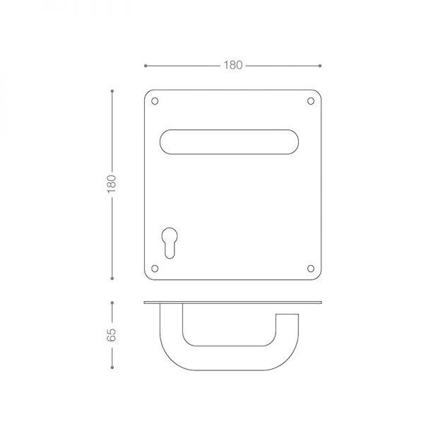 نقشه خطی دستگیره استیل پلاکدار SL22